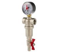 Фильтр промывной 1/2 для ГОРЯЧЕЙ воды с манометром VALTEC VT.389.N.04