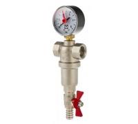 Фильтр промывной 1 для ГОРЯЧЕЙ воды с манометром VALTEC VT.389.N.06